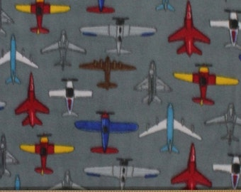 Airplanes Print Fleece Fabric by the yard