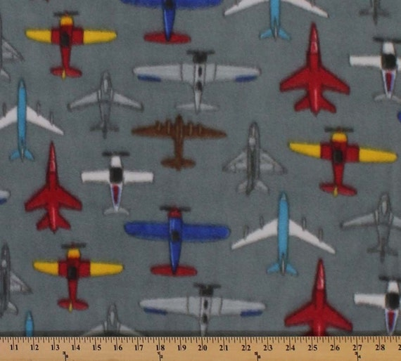 Airplanes print fleece fabric by the yard for Airplane fabric by the yard