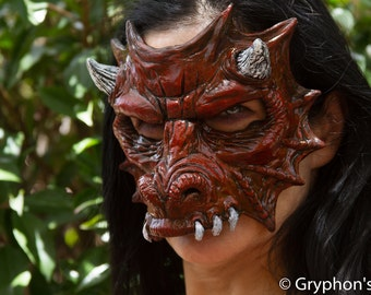 Gryphon's Egg Beautiful Red Dragon latex  Fantasy, Cosplay, Larp, Masquerade Fetish mask ON SALE NOW!!!! 25% off!!