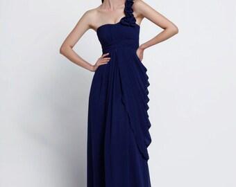On Sale Size XXS Navy Blue Wedding dress , Silk Chiffon party dress - NC516-2
