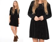 Vintage 90's Black Velvet Floral Burnout Mini Oversized Babydoll Dress