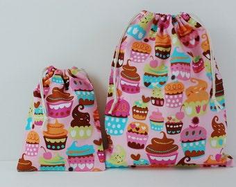 "Set of 2 Fabric Drawstring Bags (7x9"", 11x14"") for Girls / Sweet Treats Pink"