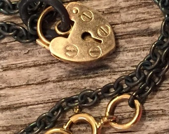 Solid Gold Padlock Heart - Oxidized Heavy Cable Chain - Necklace - Choker - Artisan Gold Jewelry