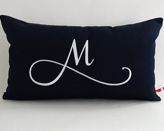 MONOGRAMMED PILLOW COVER grace font indoor outdoor embroidered letter initial alphabet wedding shower gift nursery oba canvas co.
