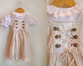 Little Dirndl for Baby's Girls German folk dress Kids festive dress set with cotton blouse Edelweiss hooks Lace blouse, Size small 86