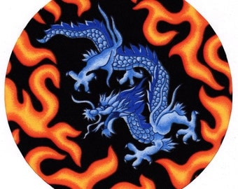Blue Dragon Fabric Covered Mouse Pad Mousepad Mat