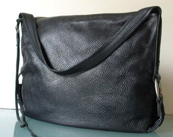 Pebbled Black Leather Hobo Feed Bag