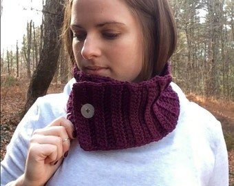 Plum Cowl with Vintage Button