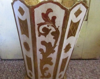 Classic Florentine Umbrella Stand  Florentine Wastebasket Larger Size Gold Gilt Grain Painting Made In Italy Holiday Decor
