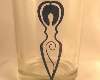Metaphysical New Age Wiccan Glass Votive Candle Holder Goddess Spiral Nature Wicca Witchcraft Spell Meditation Vinyl Decal