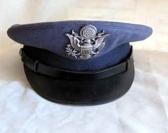 Air Force Blue Cap From 1960's with Insignia.  Size 7 3/8