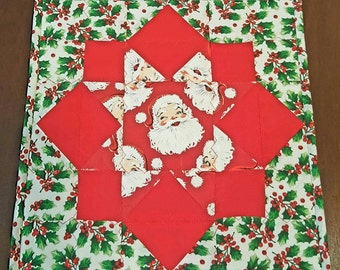 Santa Claus Christmas Quilted Candle Mat