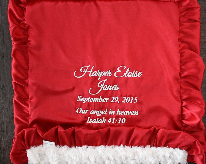 Baby Blanket, Christmas blanket, all sizes available, Blanket with name, Minky blanket, red blanket, Embroidered Blanket, personalized minky