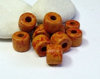 Greek Mykonos, Ceramic Short Tube Beads, Tang.