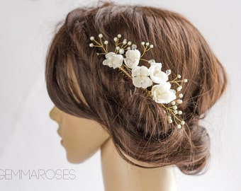 Bridal Headpiece, Wedding Silk FlowerHair accessory, Bridal Adornment, Beaded headpiece, Bridal comb, Pearl bead headpiece with gold twigs