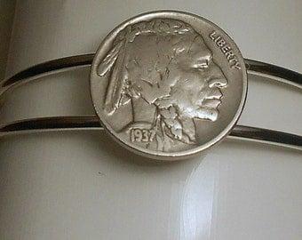 Indian Head Vintage Coin Bracelet 1937  Nickel Birthday