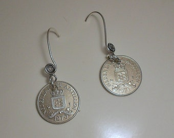 Netherland Antilles  Coin Earrings  1971 1979