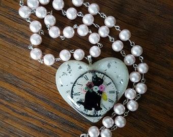 Rosary Style Pearl Time Cat Necklace