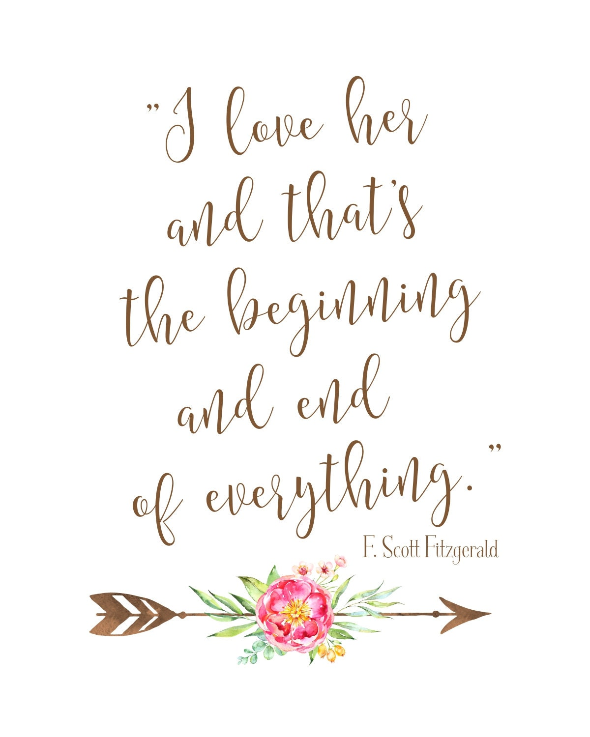 F Scott Fitzgerald Love Quote Love Quote Printable  Boho Chic Wedding Sign  Instant Download