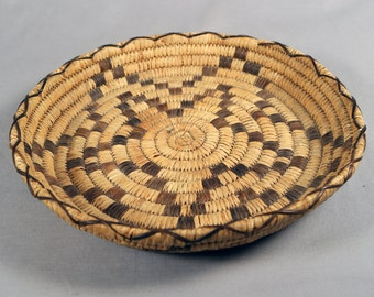 Antique Open Coil Papago or Tohono O'odham Thong Basket with a Star Motif