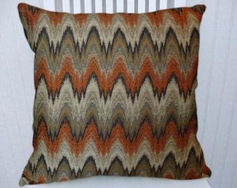 Orange Grey Black Chevron Pillow Cover-- Zig Zag Decorative Throw Pillow Cover 18x18 or 20x20 or 22x22 or Lumbar Pillow Cover