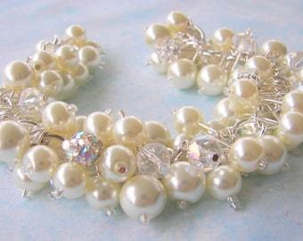 Bridal Jewelry,  Swarovski Ivory or White Pearls with Rhinestone Fireballs and Crystals, Wedding Jewelry, Pearl and Rhinestone Bracelet