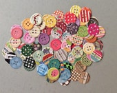 """Handmade, 100 Cardstock Buttons, Punch, Die Cuts, Embellishments, 1"""", Assorted Colors, Very Colorful"""