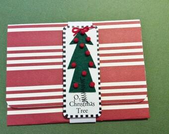 Christmas Gift Card/Money Holder, Handmade, Red and White Striped, Christmas Tree, O Christmas Tree, Black, Snowflakes