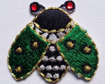 Iron On Patch Applique - Lady Bug Gem Eye