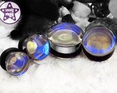 "Raindrop Blue Yellow Clear Faux Dichroic Prom / Wedding Plug / Gauge ONE Plug Only 1/2"", 9/16"", 5/8"", 11/16"" / 12mm, 13mm, 14mm, 16mm, 18mm"