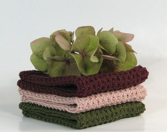 Hand knitted dish cloth - wash cloth - soft cotton set of 3 burgundy dusty rose army green