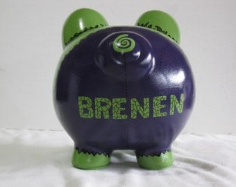 Personalized Piggy Bank, Handpainted, Piggy Bank, Large Hulk Piggy Bank - MADE TO ORDER
