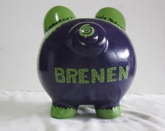 Piggy Bank, Personalized Piggy Bank, Handpainted, Piggy Bank, Large Hulk Piggy Bank - MADE TO ORDER