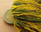 Say Cheese - Handspun Vegan Yarn Worsted Weight Green Yellow