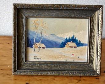Vintage Landscape Oil Painting Small Vintage Laurentians Quebec Oil Painting Vintage Signed Framed Oil Painting from The Eclectic Interior