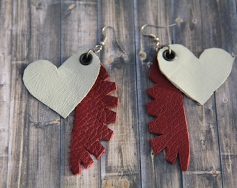OOAK Handmade Leather Earrings - Heart and Feather Red and White