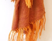Hand-woven copper scarf with metallic trim made in Ethiopia