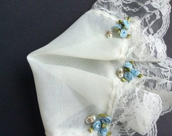 Something Blue, Lace Handkerchief, Wedding Hankerchief, Brides Hankie, Handmade, Ivory Hankie, Bridal Shower, Ecru, Vintage Hankies