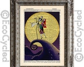 CIJ Nightmare Before Christmas 4 Jack Skellington & Sally Zero on Vintage Upcycled Dictionary Art Print Book Art Print Love Romance Wedding