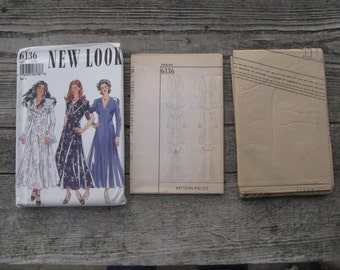 vintage simplicity 6136 new look pattern uncut size 8-18  3 dress variations  factory folded