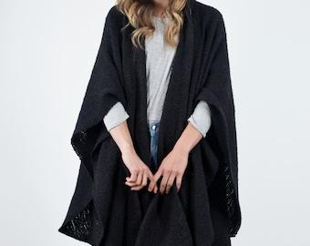 Blanket wool Poncho, Black Kimono Poncho Ruana cloak, Hooded Oversized Tunic, Hand woven merino wool, Lagenlook clothing