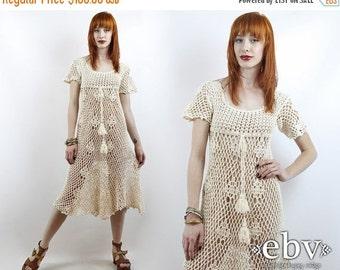 Vintage 70s Cream Crochet Lace Midi Dress Hippie Wedding Dress Hippie Dress Hippy Dress Boho Dress Hippy Wedding Dress Boho Wedding Dress