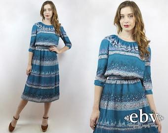 Vintage 70s Tiny Floral Ruffle Midi Dress XXS Tiny Floral Dress Floral Midi Dress Teal Dress Teal Floral Dress Modest Dress Secretary Dress