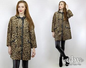 Faux Leopard Coat Leather Coat 70s Coat Animal Print Coat Faux Fur Coat Leopard Peacoat Pea Coat Vintage 70s Faux Leopard Coat S M