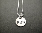 RUN - JUST RUN Sterling Silver Running Necklace - Hand Crafted Run Charm - 16, 18, or 20 inch Sterling Silver Chain - Running Jewelry - Run