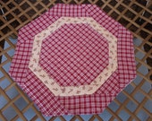 Octagon Country Red/White Checked Candle Mat, Trivet, Plant Holder, Mug Rug  11 Inches