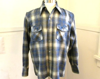 Super Soft Mens Plaid Wool Shirt / MEDIUM LARGE/ Plaid Shirt Work Shirt / 70s Clothing Pointy Collar / Mens Hipster Clothing Gifts for Men