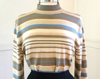 The Sky in My Latte Vintage Pendleton / 1990s Merino Wool Mock Turtleneck / XL /Striped Sweater / Blue Tan Brown / Classy Ski Sweater Mock T