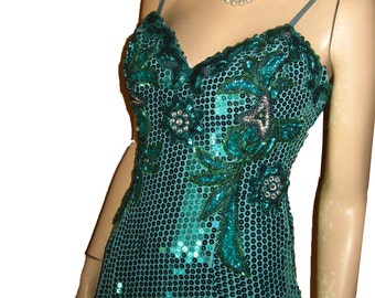 Vntg ALYCE DESIGNS Liquid Sequin Rhinestone Bead Gown Bust 37 Pageant Prom UNWORN Elaborate