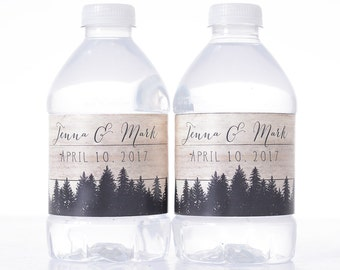 "Rustic Wedding Decorations - 30 Wedding Water Bottle Labels - Need a different quantity? Click on the ""choose total"" tab to see all pricing"
